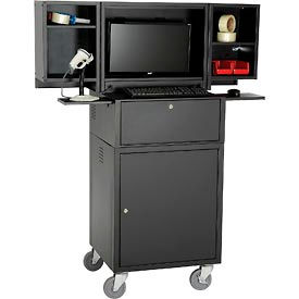 Global Industrial™ Mobile Fold-Out Computer Security Cabinet, Black, Assembled