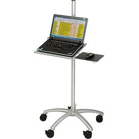 Mobile Height Adjustable Laptop Computer Workstation Security Cart