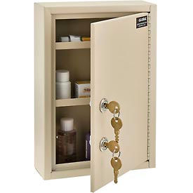 "Global™ Medical Security Cabinet with Double Key Locks, 8""W x 2-5/8""D x 12-1/8""H, Beige"