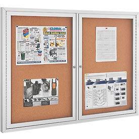 "Enclosed Bulletin Board - Cork - Aluminum Frame - 48"" x 36"" - 2 Door"