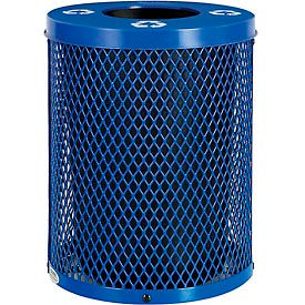 Global Industrial™ Thermoplastic 32 Gallon Mesh Recycling Receptacle w/Flat Lid - Blue