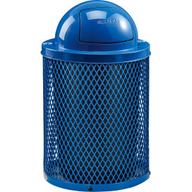 Global Industrial™ Thermoplastic 32 Gallon Mesh Recycling Receptacle w/Dome Lid - Blue