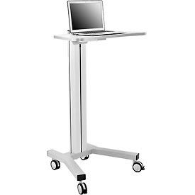 Mobile Height Adjustable Laptop Workstation with 4-Outlet Power Strip