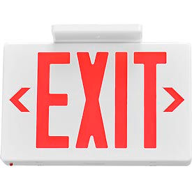Global™ LED Exit Sign, Red Letters, Universal Mount w/ Battery Backup, White, 1 or 2 Sides