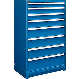 """Global™ Modular Drawer Cabinet, 8 Drawers, w/Lock, w/o Dividers, 36""""Wx24""""Dx57""""H Blue"""