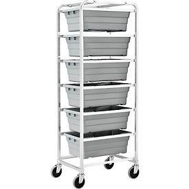 "NSF Aluminum Lug Cart 26""L x 19""W x 70""H,  6 Tote Capacity, Unassembled"