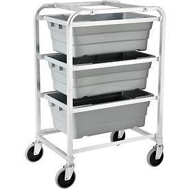 "NSF Aluminum Lug Cart 26""L x 19""W x 41""H,  3 Tote Capacity, Unassembled"