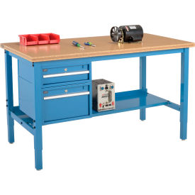 """60""""W X 30""""D Production Workbench - Shop Top Square Edge with Drawers & Shelf - Blue"""