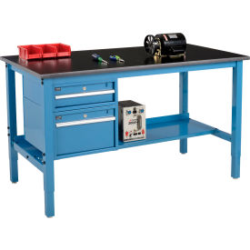 """60""""W X 30""""D Production Workbench - Phenolic Resin Safety Edge with Drawers & Shelf - Blue"""