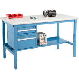 """60""""W X 36""""D Production Workbench - Plastic Laminate Safety Edge with Drawers & Shelf - Blue"""