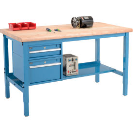 """60""""W X 36""""D Production Workbench - Maple Butcher Block Safety Edge with Drawers & Shelf - Blue"""