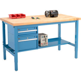 "72""W X 30""D Production Workbench - Birch Butcher Block Square Edge with Drawers & Shelf - Blue"