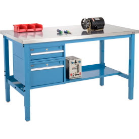 """72""""W X 30""""D Production Workbench - Stainless Steel Square Edge with Drawers & Shelf - Blue"""
