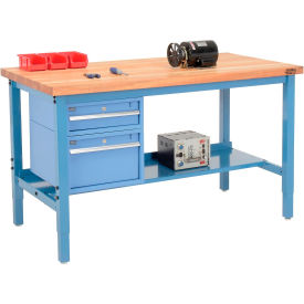 "72""W X 36""D Production Workbench - Maple Butcher Block Safety Edge with Drawers & Shelf - Blue"