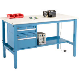 """72""""W X 36""""D Production Workbench - ESD Laminate Safety Edge with Drawers & Shelf - Blue"""