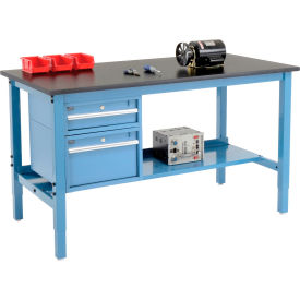 """72""""W X 36""""D Production Workbench - Phenolic Resin Safety Edge with Drawers & Shelf - Blue"""