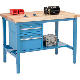 "96""W X 36""D Production Workbench - Maple Butcher Block Square Edge with Drawers & Shelf - Blue"