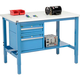 """96""""W X 36""""D Production Workbench - ESD Laminate Square Edge with Drawers & Shelf - Blue"""
