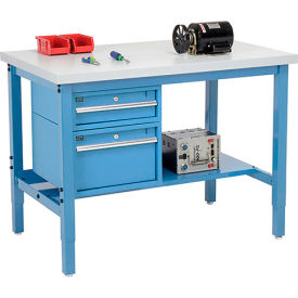 """96""""W X 36""""D Production Workbench - Plastic Laminate Square Edge with Drawers & Shelf - Blue"""