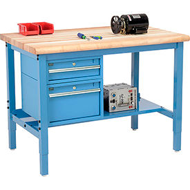 "48""W X 30""D Production Workbench - Maple Butcher Block Safety with Drawers & Shelf - Blue"