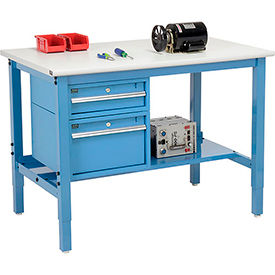 "48""W X 30""D Production Workbench - ESD Laminate Safety Edge with Drawers & Shelf - Blue"