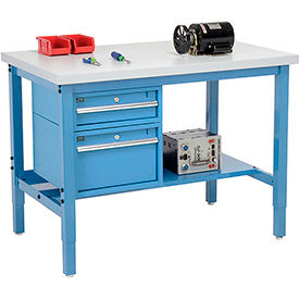 """48""""W X 30""""D Production Workbench - Plastic Laminate Square Edge with Drawers & Shelf - Blue"""