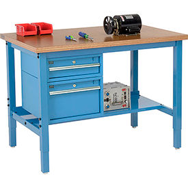 """48""""W X 30""""D Production Workbench - Shop Top Square Edge with Drawers & Shelf - Blue"""