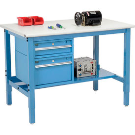 """48""""W X 36""""D Production Workbench - ESD Laminate Safety Edge with Drawers & Shelf - Blue"""
