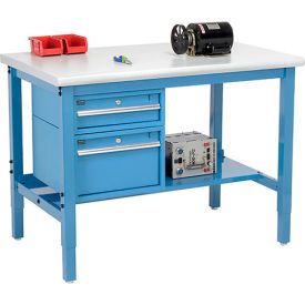 """48""""W X 36""""D Production Workbench - Plastic Laminate Safety Edge with Drawers & Shelf - Blue"""
