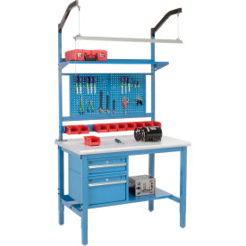 """48""""W X 30""""D Production Workbench - Plastic Laminate Safety Edge Complete Bench - Blue"""