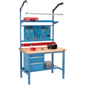 "48""W X 30""D Production Workbench - Birch Butcher Block Square Edge Complete Bench - Blue"