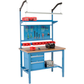 "48""W X 30""D Production Workbench - Shop Top Square Edge Complete Bench - Blue"