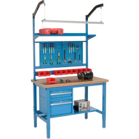 """48""""W X 30""""D Production Workbench - Shop Top Safety Edge Complete Bench - Blue"""