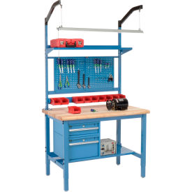 """48""""W X 36""""D Production Workbench - Maple Butcher Block Safety Edge Complete Bench - Blue"""