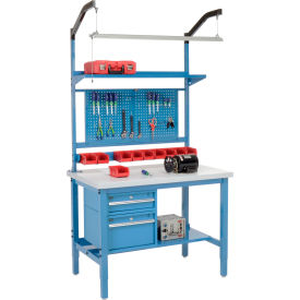 "48""W X 36""D Production Workbench - Plastic Laminate Square Edge Complete Bench - Blue"