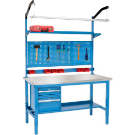 "60""W X 30""D Production Workbench - Stainless Steel Square Edge Complete Bench - Blue"
