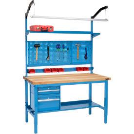 "60""W X 36""D Production Workbench - Birch Butcher Block Square Edge Complete Bench - Blue"