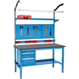 """72""""W X 30""""D Production Workbench - Phenolic Resin Safety Edge Complete Bench - Blue"""