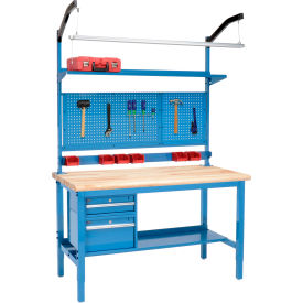 "72""W X 36""D Production Workbench - Maple Butcher Block Safety Edge Complete Bench - Blue"