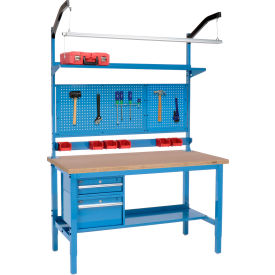 "72""W X 36""D Production Workbench - Shop Top Square Edge Complete Bench - Blue"