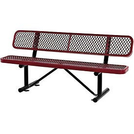 """72""""  Expanded Metal Mesh Bench With Back Rest Red"""