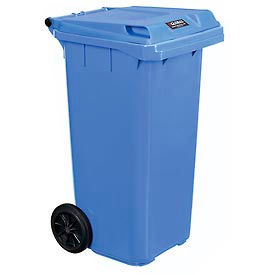 Global Industrial™ Mobile Trash Container with Lid - 32 Gallon Blue, 3 Pack