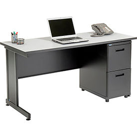 """Office Desk with 2 Drawers - 60"""" x 24"""" - Gray"""