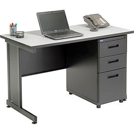 "Office Desk with 3 Drawers - 48"" x 24"" - Gray"