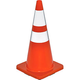 "28"" Traffic Cone, Reflective, Solid Orange Base, 7 lbs"