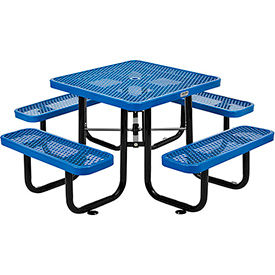3 ft. Square Outdoor Steel Picnic Table - Expanded Metal - Blue
