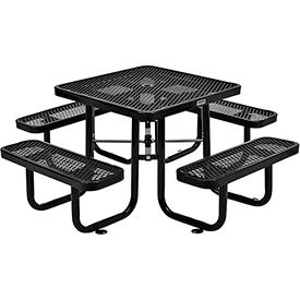 3 ft. Square Outdoor Steel Picnic Table - Expanded Metal - Black