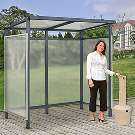"""Bus Smoking Shelter Flat Roof 3-Side Open Front  With Beige 5 Gallon Outdoor Ashtray 6'5""""x3'8""""x7'"""