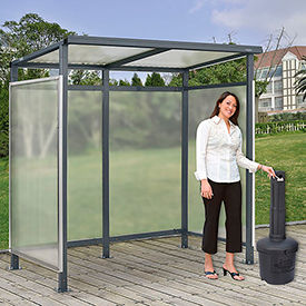 """Bus Smoking Shelter Flat Roof 3-Side Open Front  With Black 5 Gallon Outdoor Ashtray 6'5""""Wx3'8""""Dx7'H"""