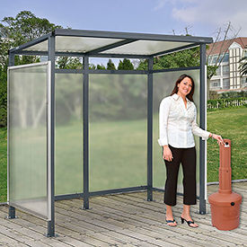"Bus Smoking Shelter Flat Roof 3-Side Open Front  w/Terracotta 5 Gallon Outdoor Ashtray 6'5""x3'8""x7'"